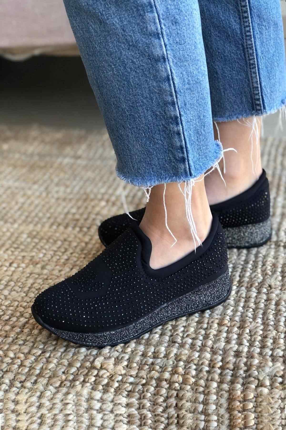 Kadın Günlük Casual Ayakkabı, Taş İşlemeli - Simli Taban